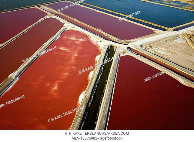 Evaporation ponds for the commercial extraction of sea salt - showing the bright resulting colours. Near Swakopmund - Namib Desert - Atlantic Coast - Namibia -...