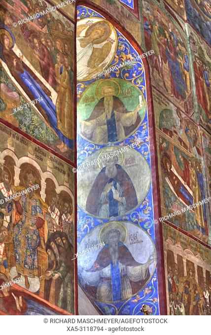 Frescoes, Holy Dormition Cathedral, The Holy Trinity Saint Serguis Lavra, UNESCO World Heritage Site, Sergiev Posad, Golden Ring, Russia