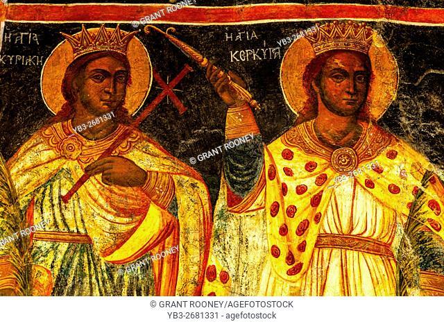 Religious Paintings Inside The Monastery Of Ipsilos, Mount Pantokrator, Corfu Island, Greece