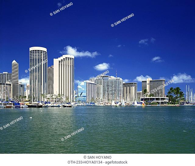 Resort hotels from Ala Wai Marina Waikiki Beach, Honolulu, Oahu, Hawaii, USA