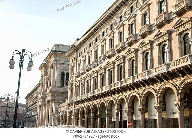Facade of the Vittorio Emanuele II Gallery, Duomo Square, Milan, Lombardy, Italy