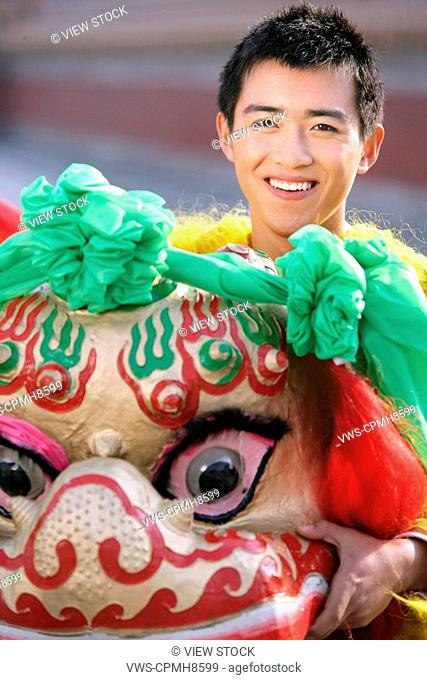 Chinese Young Man,Lion Dancing