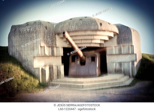 German battery in Longues sur Mer Calvados Normandy France