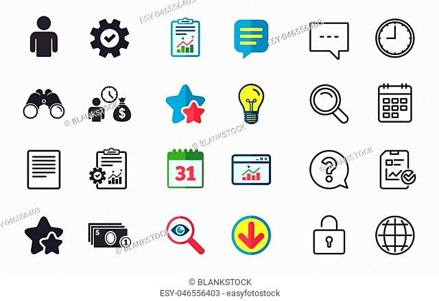 Bank loans icons. Cash money bag symbol. Apply for credit sign. Fill document and get cash money. Chat, Report and Calendar signs