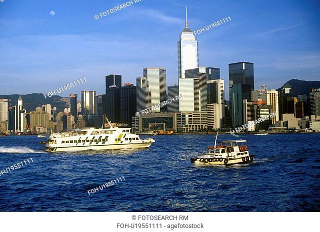 Boat and ship in Hong Kong Harbor