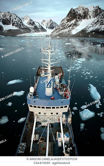 On board Norwegian Polar Institute 'RV Lance' research ship for climate change investigations. Spitsbergen island, Svalbard archipelago, Arctic Ocean, Norway