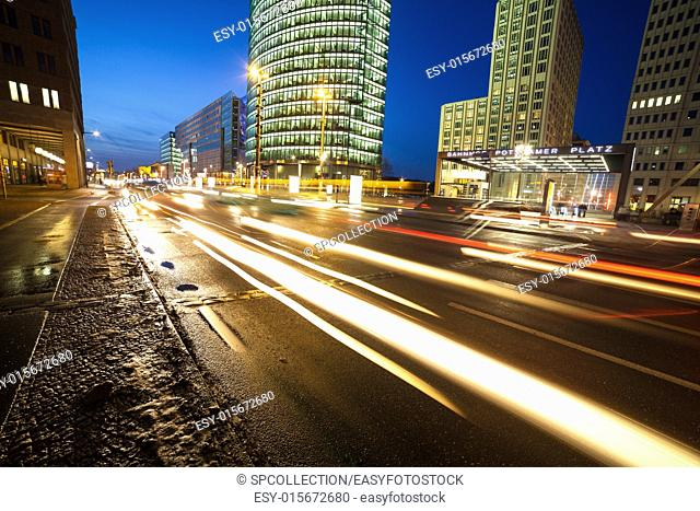 traffic at potsdamer platz in berlin