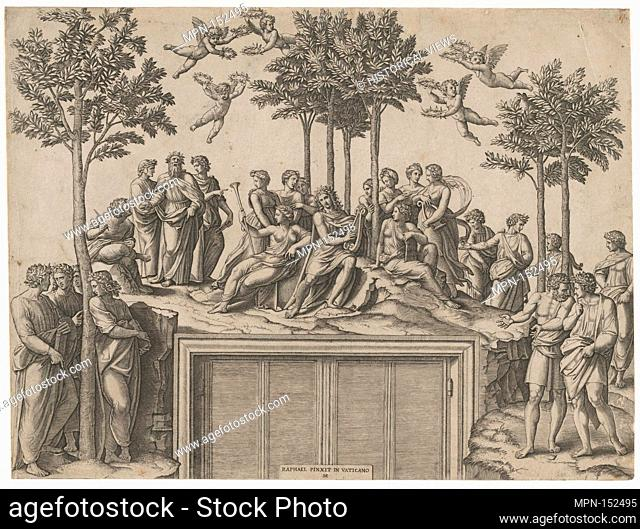 Apollo sitting on Parnassus surrounded by the muses and famous poets. Artist: Marcantonio Raimondi (Italian, Argini (?) ca