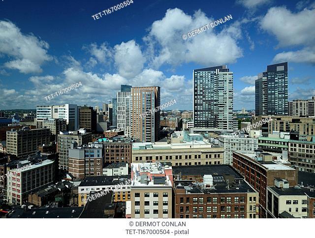 Massachusetts, Boston, City skyline with clouds