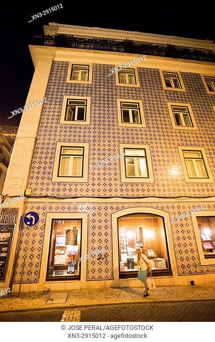 Bertrand Books And Music, Typical facade tile, Rua Garrett, Garrett Street, Lisbon, Portugal, Europe
