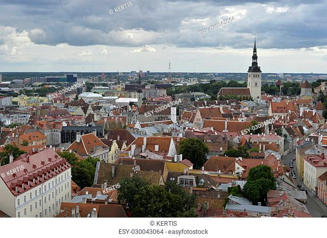 August, 2015 - Old city of Tallinn, Estonia. Old stoned streets, houses and red roofs of old Tallinn in the summer day. View from the