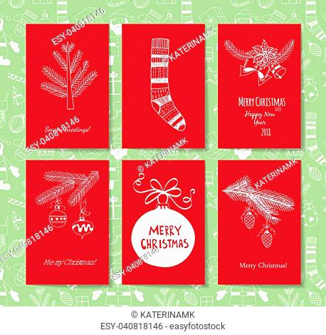 Set of 6 red Christmas cards on green patterned background