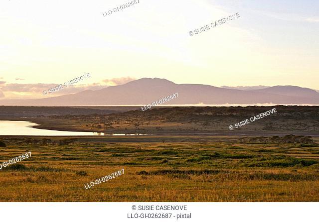 View across Lake Ndutu to Mount Lemagrut, Serengeti, Tanzania