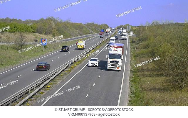 Trafic travelling along to A42 in Leicestershire