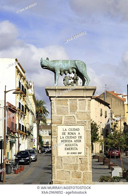 Romulus and Remus with wolf sculpture, Merida, Extremadura, Spain