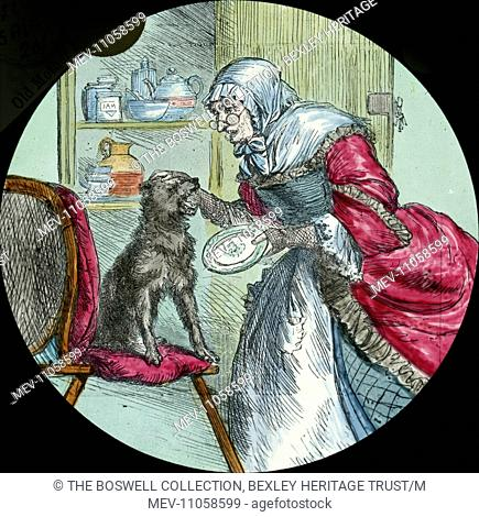 Mother Hubbard and her Dog - old woman , glasses, red and white gown , dog on chairPart of Box 52 Boswell Collection Nursery Rhymes