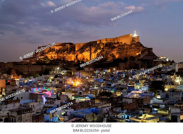 Mehrangarh fort at night in Jodhpur, Rajasthan, India