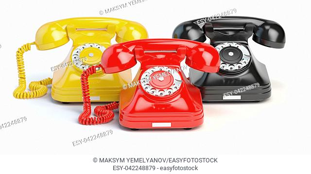 Group of vintage telephones of differents colors isolated on white background. 3d illustration