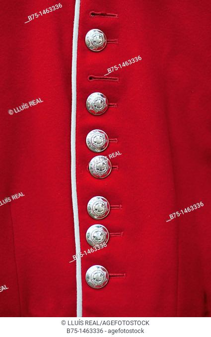 Detail of a guardsman costume, British Army, London, England, UK