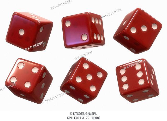 Six red di, computer illustration
