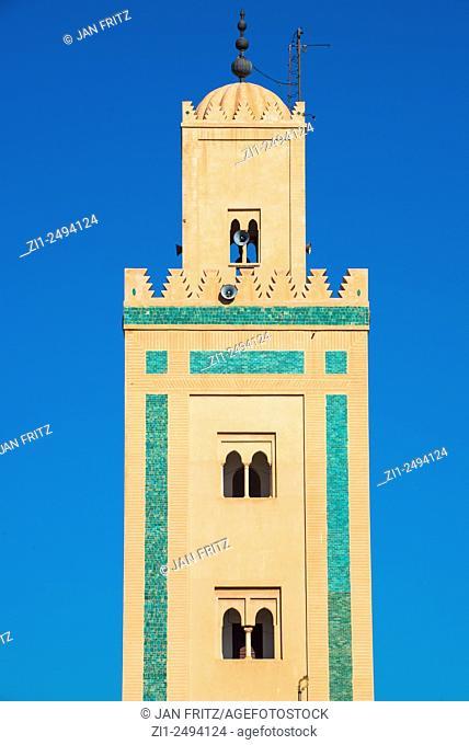 View at minaret from Ali Ben Youssef mosque in Marrakech, Maroc
