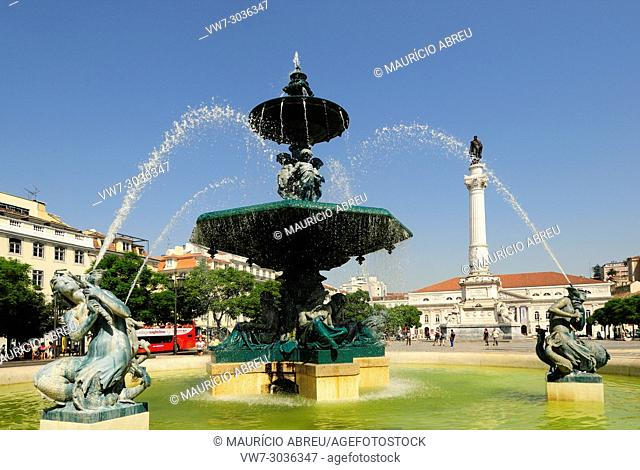 Rossio square or Praça Dom Pedro IV, the main square in Lisbon. Portugal