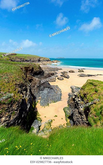 Harlyn Bay North Cornwall England UK near Padstow and Newquay and on the South West Coast Path in spring with blue sky and sea