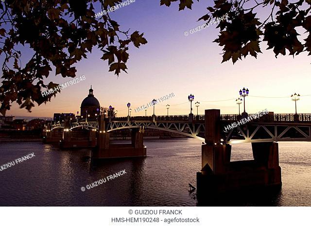 France, Haute Garonne, Toulouse, Pont Saint Pierre and Hospice de la Grave, dome of the chapel