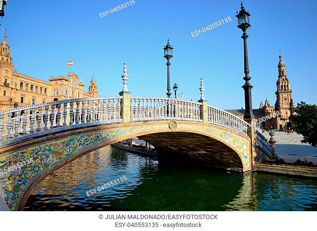 Plaza de España in Seville and its canals