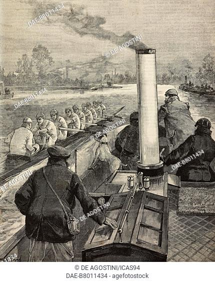 Mr Muttlebury coaching the Cambridge crew from a steam launch, the Oxford and Cambridge boat race, United Kingdom, engraving from The Illustrated London News