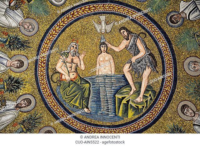 Arian Baptistry ceiling mosaics, baptism of Jesus by Saint John the Baptist, Historic center, Ravenna, Emilia Romagna, Italy, Europe