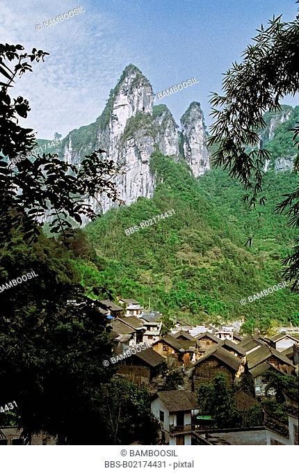 Scenery of Miao minority housing in Dehang, Jishou City, Xiangxi Prefecture, Hunan Province, People's Republic of China