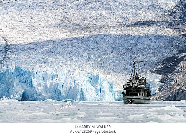 MV Catalyst in front of Dawes Glacier in Endicott Arm of Tracy Arm-Fords Terror Wilderness in Southeast