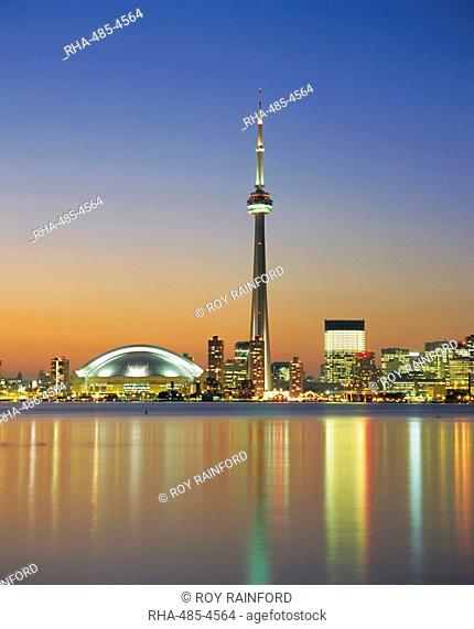 City skyline including CN Tower in the evening, Toronto, Ontario, Canada