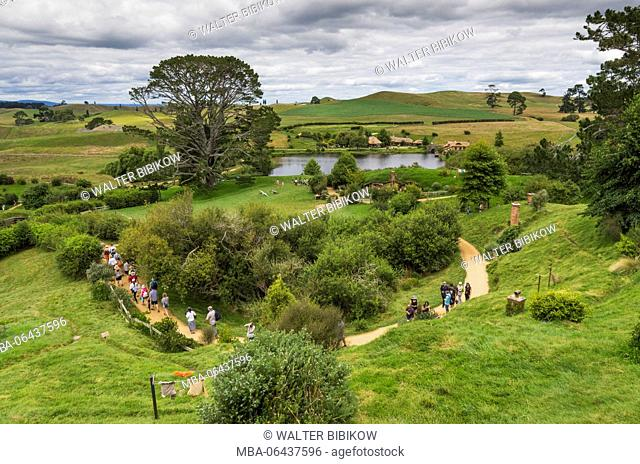 New Zealand, North Island, Matamata, Hobbiton Movie Set, elevated view