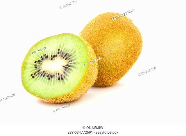 A perfectly fresh kiwi fruit isolated on white