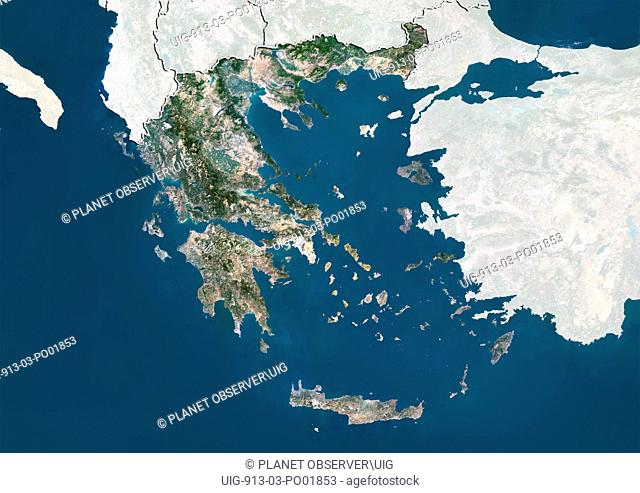 Satellite view of Greece with border and mask. This image was compiled from data acquired by LANDSAT 5 & 7 satellites