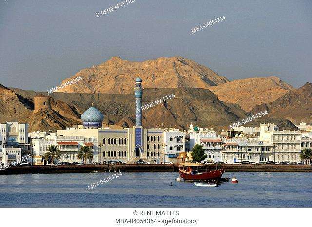 Sultanate of Oman, Muscat, Muttrah corniche with persian style mosque