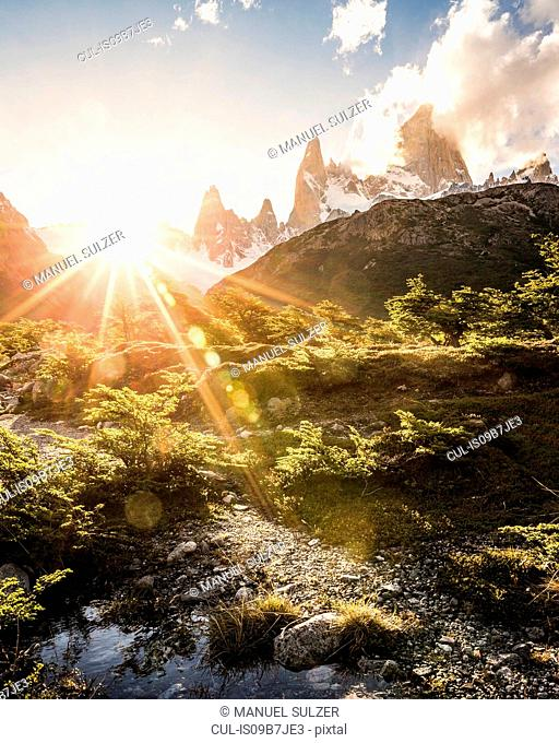 Sunlit landscape and Fitz Roy mountain range in Los Glaciares National Park, Patagonia, Argentina
