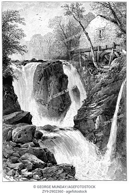 1870: Pandy Mill on the River Llugwy near Betws-y-Coed, a village in the Conwy valley in Conwy County Borough, North Wales
