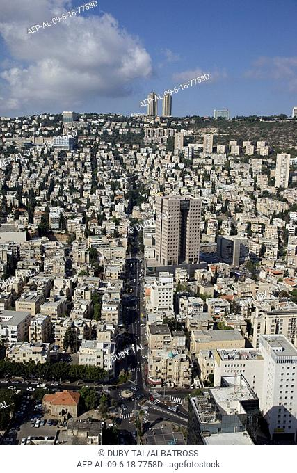 Aerial photograph of the city of Haifa on the slopes of the Carmel mountain