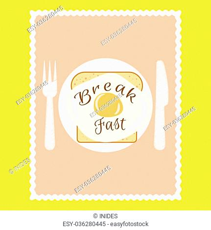 Breakfast flyer with slice of bread and scrambled egg on plate. Advertise banner template or menu for cafe