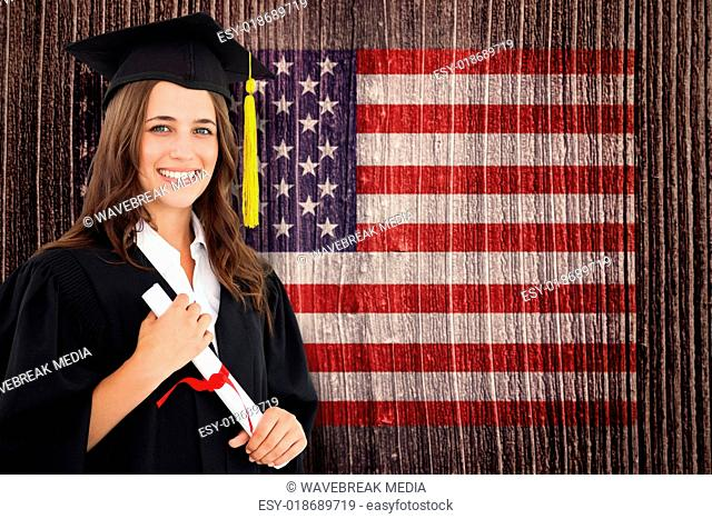 Composite image of a smiling woman with a degree in hand as she looks at the camera