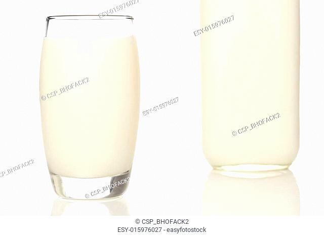 Tall Organic Glass of White Milk