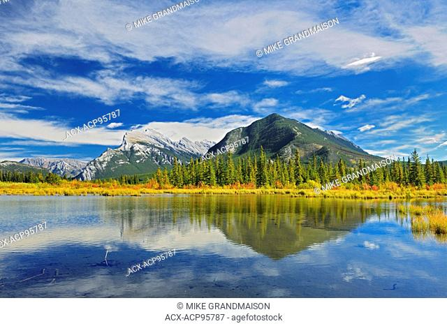 Mt. Rundle and Sulphur Mouantain reflected in Vermillion Lakes Banff National Park Alberta Canada