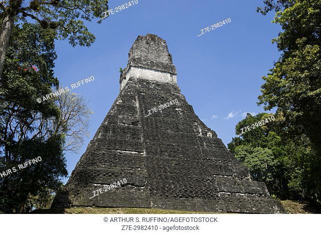 Rear view of Temple I, Great Jaguar Temple, Tikal, Guatemala, Central America