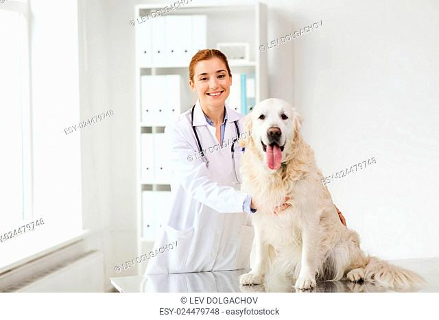 medicine, pet, animals, health care and people concept - happy veterinarian or doctor with golden retriever dog at vet clinic