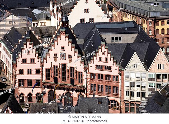 Römer, view from the cathedral tower, Frankfurt on the Main, Hesse, Germany