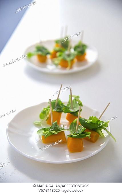 Vegetarian snacks made of carrot, water cress and coriander