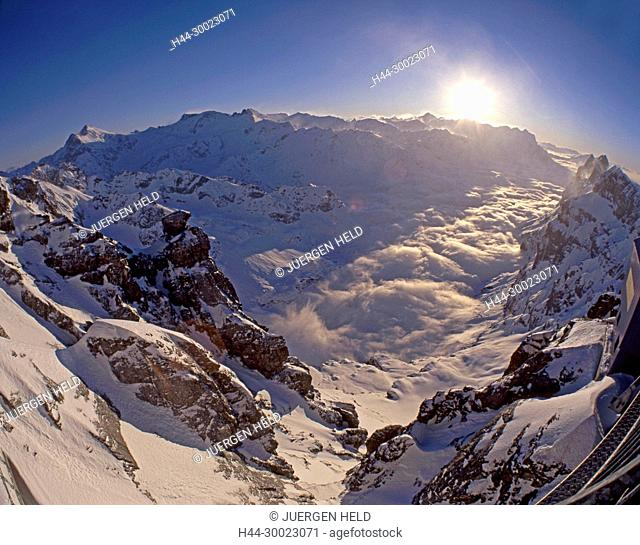 Switzerland, swiss alps, Titlis,canyon, blue sky